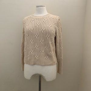 Amour Vert Organic Cotton Cable Knit Crop Sweater